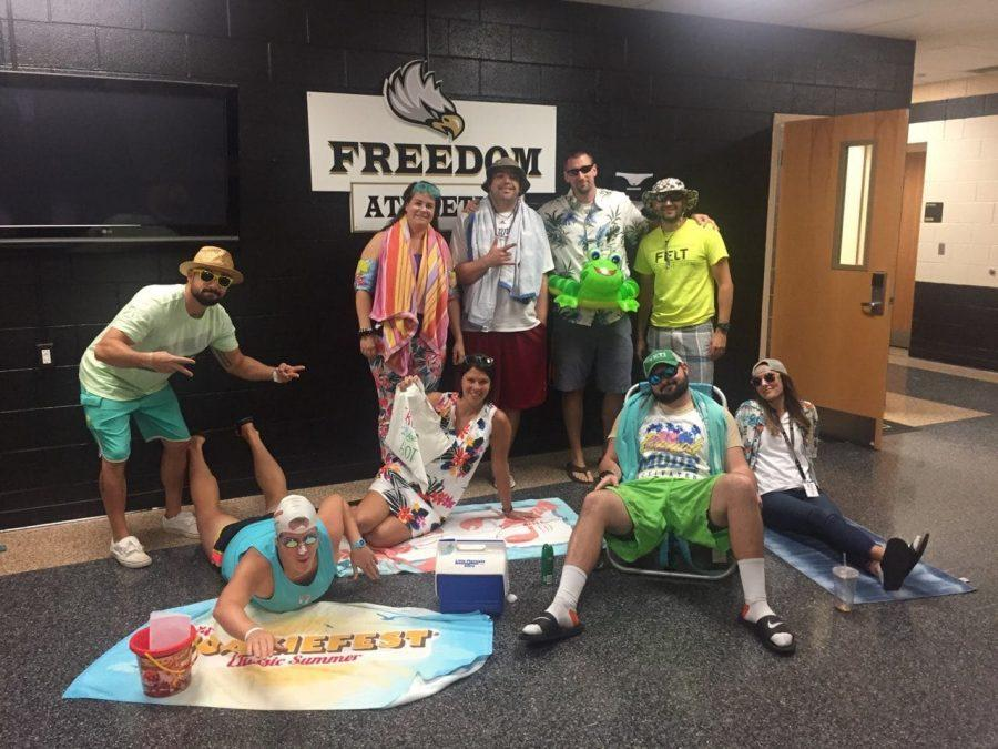 The+Freedom+health+and+PE+department+showed+their+spirit+by+dressing+up+in+beach+attire.+