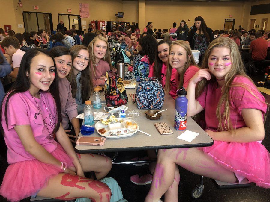 Aaliya+Smith%2C+Sophia+Monin%2C+Jayde+Alenburg%2C+Emily+Taylor%2C+Rachel+Tulk%2C+Jaime+Sheehan%2C+and+Lauren+Hall+wear+pink+from+head+to+to+to+show+homecoming+spirit.
