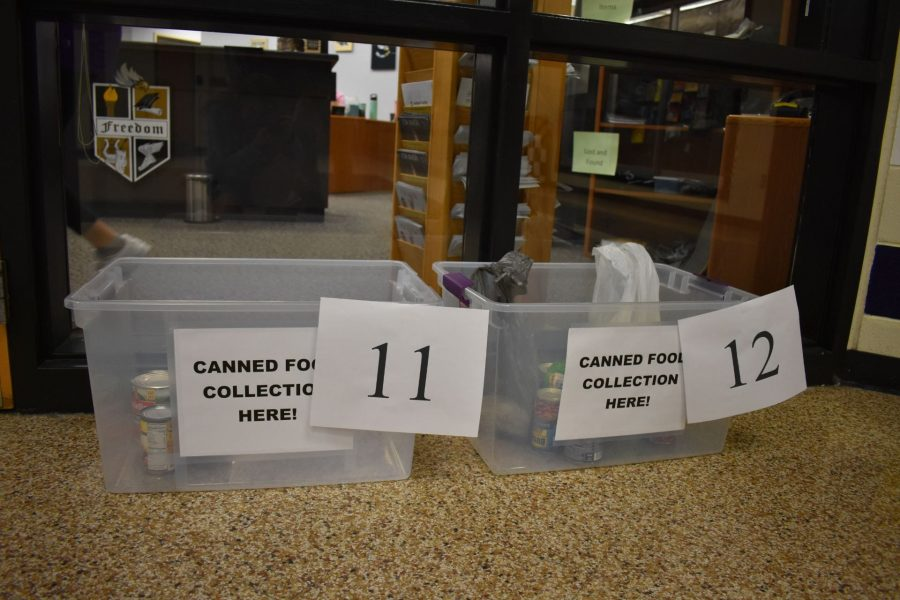 FBLA+hosts+annual+canned+food+drive.+Donation+bins+for+the+canned+food+drive+were+placed+outside+the+main+office