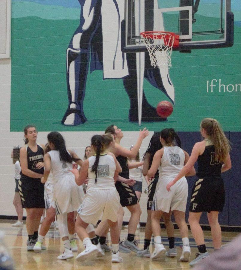 Freedom varsity girls during the last few seconds of the game