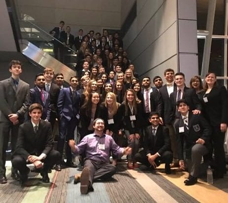 DECA members with their advisors at the state competition in Virginia Beach.