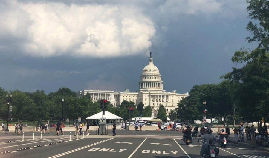 The Capital comes into view as the bikers roll into D.C. for the last Rolling Thunder.