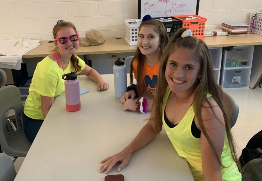 Juniors+Abbey+Janiga%2C+Haley+Adams%2C+and+Taylor+Lech+brighten+the+day+in+their+neon+80s+outfits.