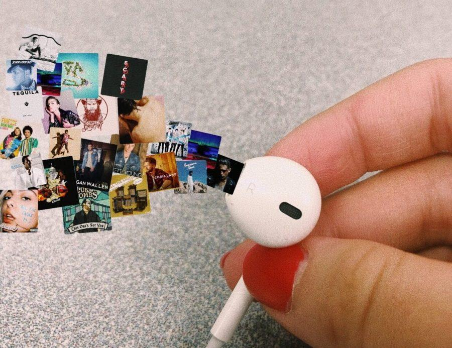 Photo and design by Ana Urban  Earbuds allow students to listen to various types of music that is unique to each individual.