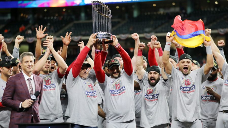 Nationals owner, manager, and players celebrate winning franchises first World Series. (Photo provided by Sports Illustrated)