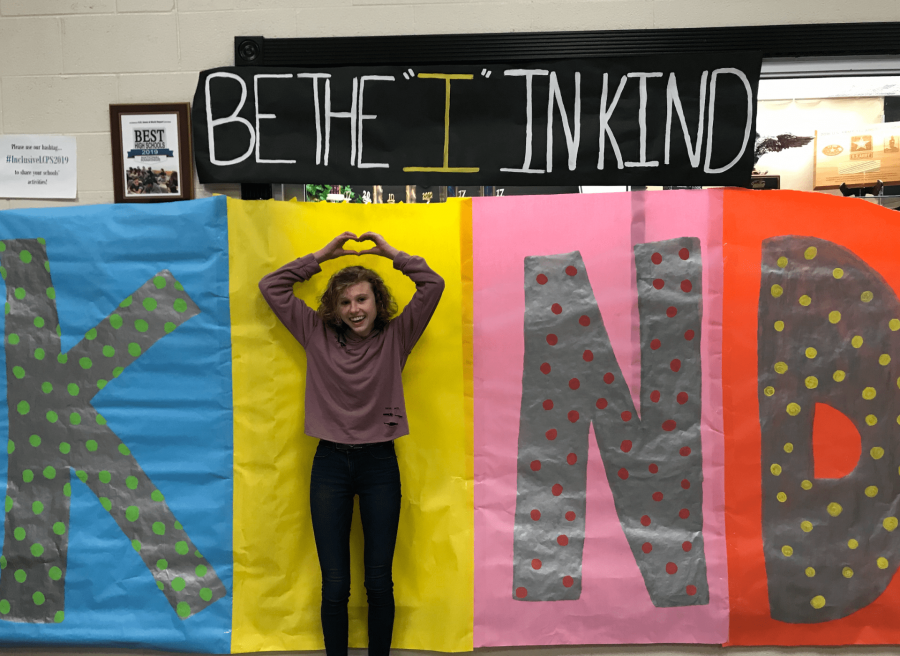 Students posed as the I in KIND to celebrate Inclusive Schools Week.  All photos by: Lauren Balser