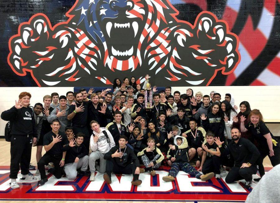 Freedom Wrestling defends LCPS Championship Title. (Photo by FHS Wrestling)