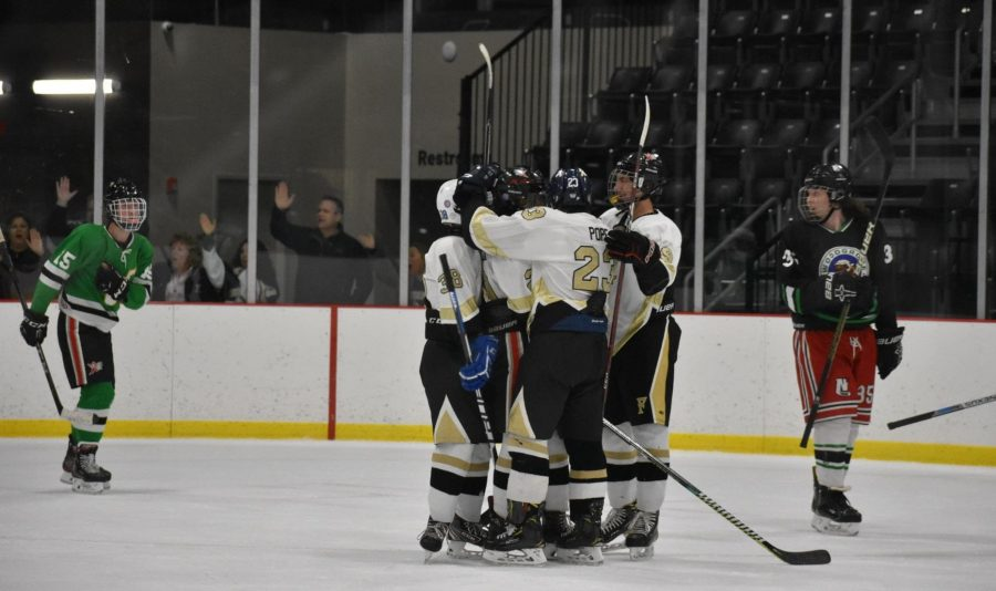 The FHS Hockey team celebrates after their 4th goal over Woodgrove. They went on to win the game 9-1.