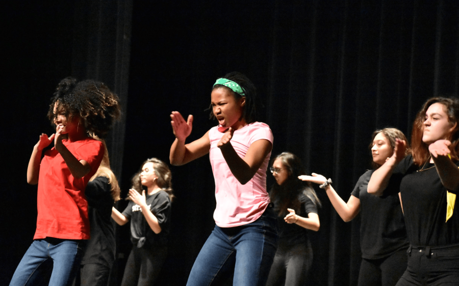The step team steps in a tribute for the Black History Month Assembly. Photo by: Ava Proehl