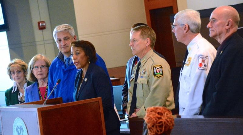 Image provided by LoudounNow.       A press conference meets to discuss the virus with County Chairwoman Phyllis J. Randall, Loudoun Health Department Director Dr. David Goodfriend and others.
