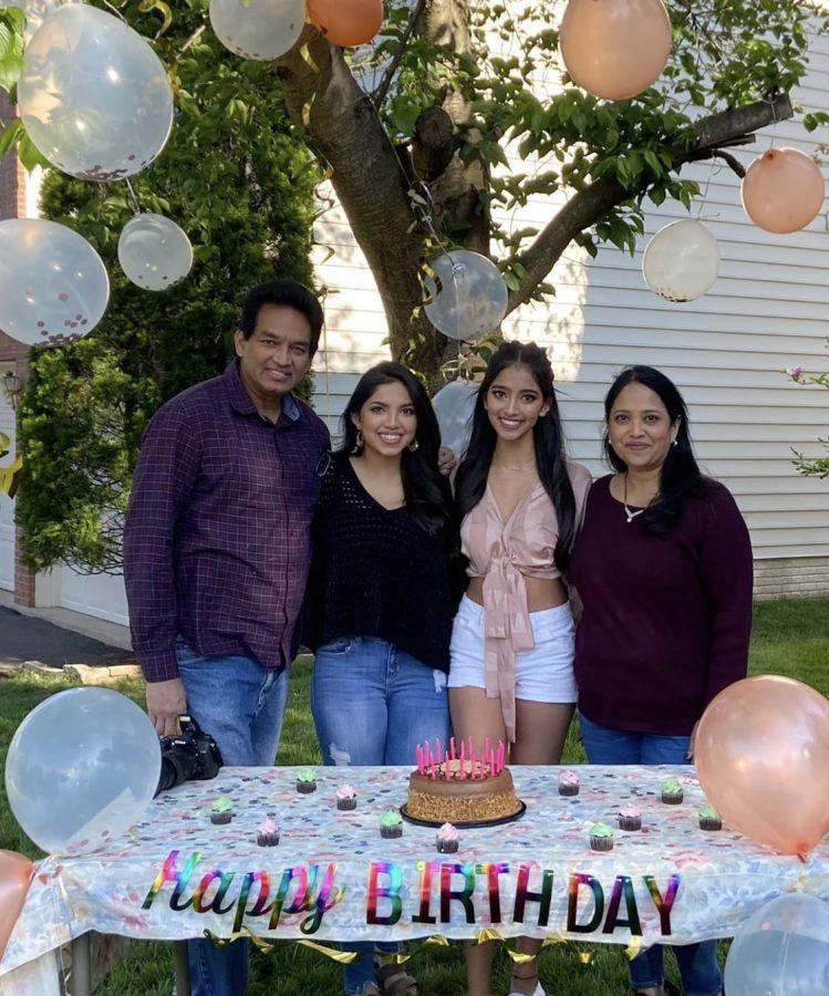 Senior Amisha Jaiswal celebrating her birthday with her family.  Photo provided by Amisha Jaiswal.