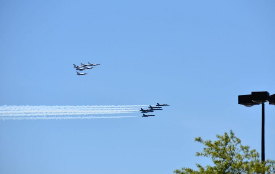 The Thunderbirds and Blue Angels captured in their flyover in support of front-line workers. Photos by Ava Proehl.