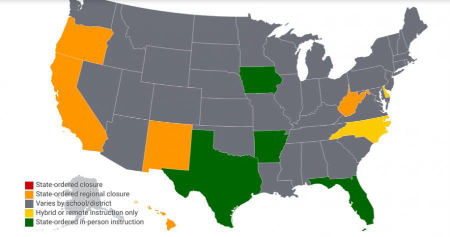 Photo Provided by BallotPedia.  Map of state status for national public school openings and closings.