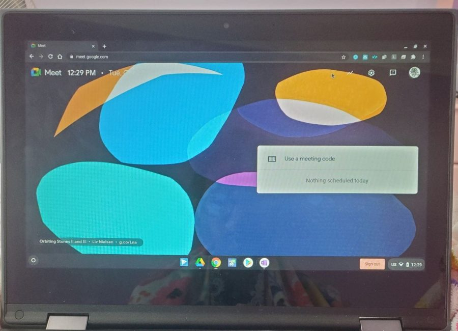 School clubs have had to use google meets to hold their meetings. Photo by Pratha Ravani