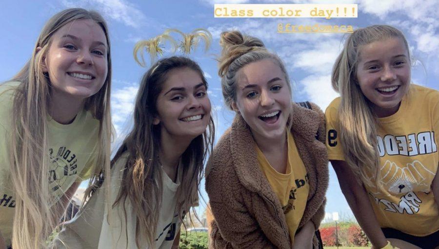 Juniors+Emily+Taylor%2C+Julia+Majeski%2C+Dori+Bruno%2C+and+Jillian+Morse+dress+up+in+gold+for+class+color+day.+Photo+provided+by+Jillian+Morse