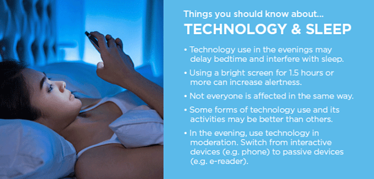 Photo provided by the Sleep Health Foundation listing vital information linking technology and sleep.