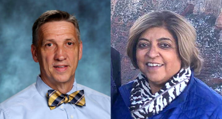 Freedom High School principal Dr. Douglas Fulton (left) has accepted a position as the Director of School Administration with LCPS effective Jan. 4. Neelum Chaudhry (right) has been named Freedom High School principal. Fulton photo courtesy of Victor ONeill Studios. Chaudhry photo courtesy lcps.org.