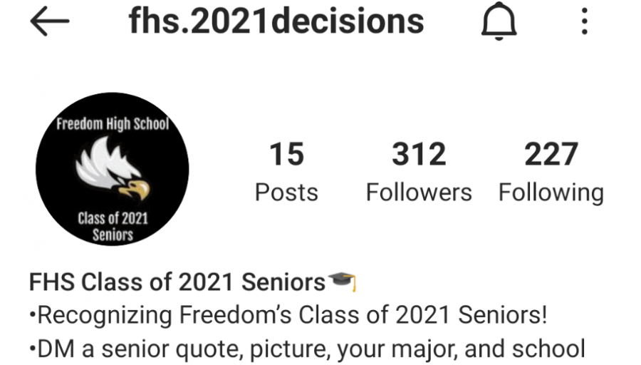 The profile of the account dedicated to the Class of 2021 (@fhs.2021decisions)