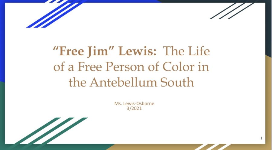 Teacher+Joan+Lewis-Osborne+makes+slideshows+each+class+to+teach+her+students+about+different+aspects+of+African+American+history