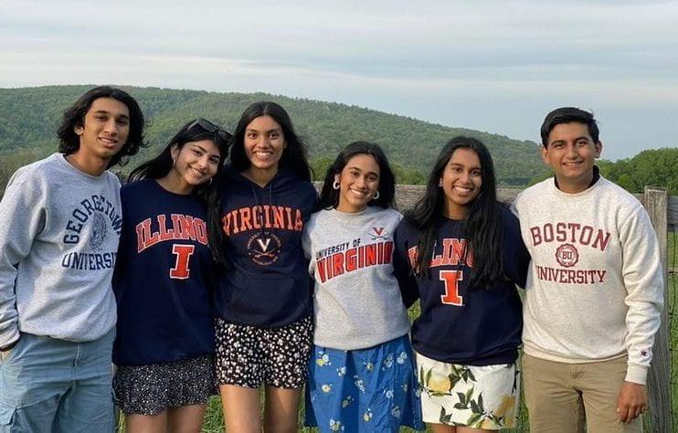 Seniors+Ishan+Datey%2C+Annika+Srinivasan%2C+Anya+Majji%2C+Ahana+Sinharoy%2C+Apurva+Perla%2C+and+Nalin+Aggarwal+show+off+where+theyll+be+this+fall.+They+worked+hard+and+can+now+enjoy+the+rest+of+senior+year.+Photo+provided+by+Apurva+Perla.+