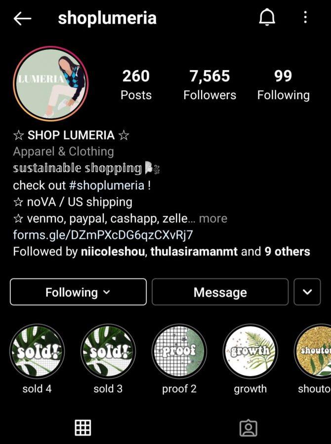 Sophomore Nicole Shou has a business called Shop Lumeria, where she sells clothing. Screenshot taken by Pratha Ravani through Shop Lumerias instagram page.