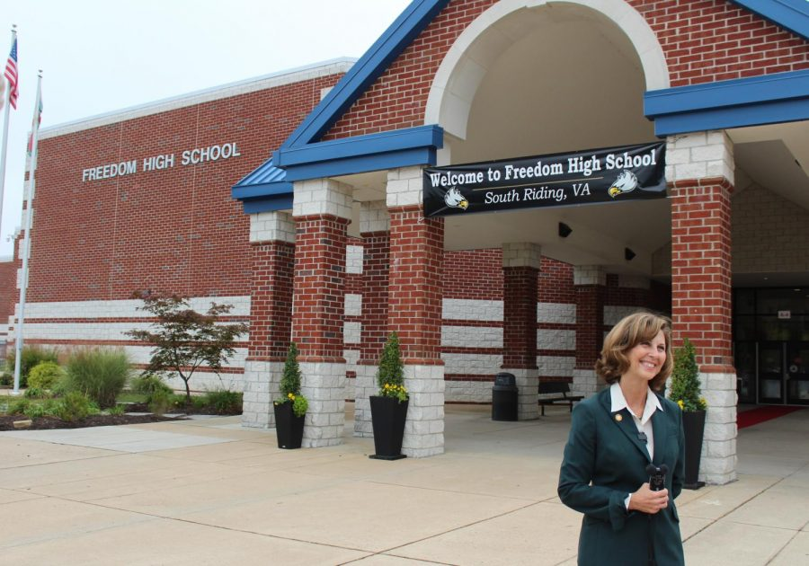 First Lady of Virginia, Pamela Northam, visits Freedom High School and admires mental health resources offered.
